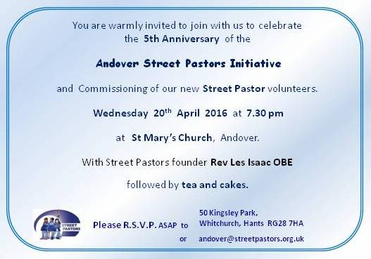 Fifth Anniversary Celebration Andover Street Pastors