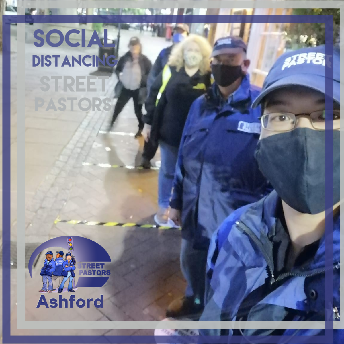 picture of socially distanced street pastors patrolling