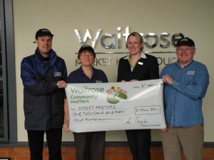 February 2013 - Receiving cheque for Green Tokens from Waitrose