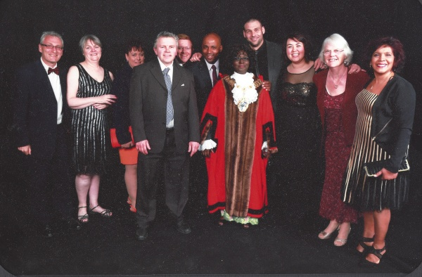 2014/15 Mayor of Merton, Councillor Agatha Akyigyina, with the Merton Street Pastor team at the Mayor's Ball, April 2015.