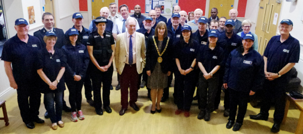 Rugby's Mayor, Councillor Mrs Sally Bragg, PCC Philip Seccombe TD, Police, Council and church representatives, pictured with the newly commissioned Street Pastors.